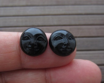Gorgeous Pair of 12mm Hand carved  teeny weeny  Moon face , Buffalo Horn carving , Embellishment, Organic , Jewelry making Supplies S5431