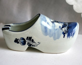 Hand Painted Delft Blue Porcelain Shoe, Porcelain Blue Shoe, Dutch Shoe.