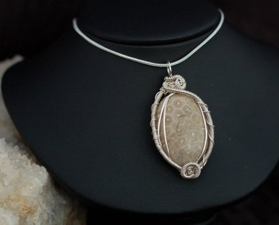 Fossil Coral Pendant in Sterling Silver / Intricate Fossil Pendant / Stone Jewelry / Medium Wire Wrap Pendant