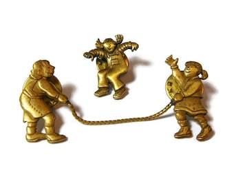 JJ jump rope pins, JJ Jonette Jewelry, 3 girls playing hopscotch lapel pins, bronze color, three separate lapel pins make one scene brooch!