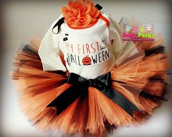 SALE 1st halloween tutu, first halloween onesie , orange black tutu, baby halloween costume