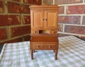 Miniature Dollhouse Wooden Secretary, Wooden Desk,  FREE shipping