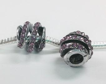 1 Bead - Pink Rhinestone Helix Barrel Silver European Bead Charm E1439