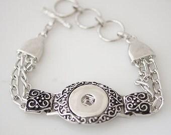 "1 Bracelet - 7"" FITS 18MM Candy Snap Charm Jewelry Silver KB0194 Cj0138"