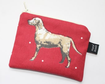 Coin purse, change purse, red with dogs, Labrador