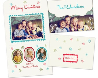 INSTANT DOWNLOAD - Holiday Folded Luxe Card Template - Holiday Wishes - E163