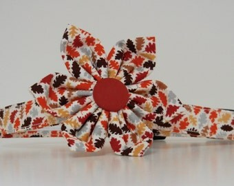 Dog Flower Collar Autumn Leaves Thanksgiving Fall Collar Made to Order