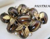 Austria Art Glass Brooch Signed Gold Fluss Cabochon Pin