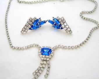 Blue Rhinestone Necklace Earrings Jewelry Vintage Wedding Set