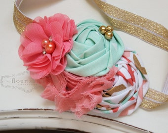 Coral, Gold and Mint headband, gold headbands, newborn headbands, vintage headbands, photography prop