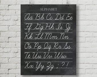 Vintage Alphabet Cursive Classroom Poster Digital Chalkboard Word Art 16x20 - Back to School, Teacher Appreciation Gift, school decor