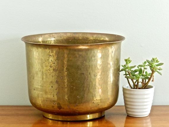 Sale Large Vintage Brass Planter Flower Pot Rustic Patina