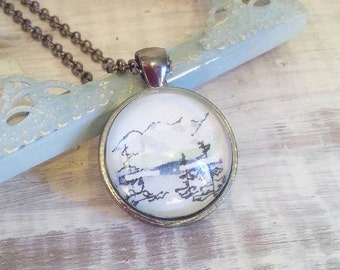 Watercolour Landscape Necklace, OOAK Original ART