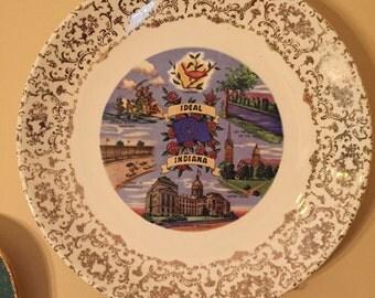 Vintage Indiana State Souvenir Plate