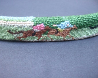 Needlepoint Horse Race Design Unisex Handmade Belt