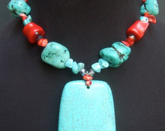 Turquoise & Coral Pendant Choker Necklace