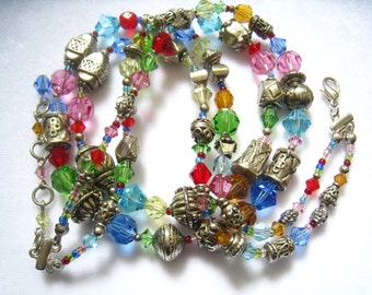 CLEARANCE 2-Strand Crystal & Silver Tone Vintage Bead Necklace in a Rainbow of Colors,  from Late 80's or Early 90's.