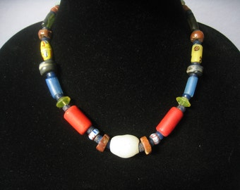 "CLEARANCE Genuine African Trade Bead Vintage Necklace in Bright Colors, Chunky Sized vintage Trade Beads set in Graduated Pattern. Over 18""."