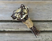 Dried Rose Boutonniere, Groom's Boutonniere -  Love Nest  - Roses, Birch & Lapsana