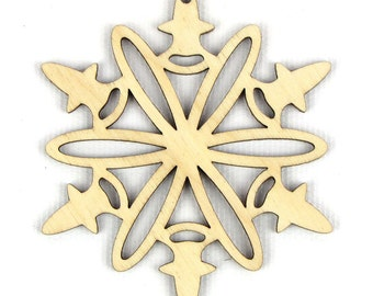Charged Flake - Laser Cut Wood Snowflake in Multiple Sizes and Quantity Discounts