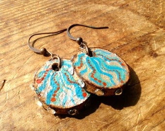 Hand painted cork earrings with silver, blue and turquois design