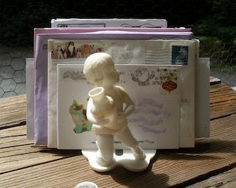 Posh Plastic Putto Mail Holder - Vintage Chubby Male Child Desk Organizer - Kitsch Renaissance Toddler Boy Napkin Minder