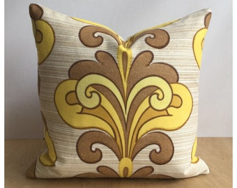 """Funky Original Vintage Yellow Psychedelic Fabric Cushion Cover 16"""" x 16"""" Retro Throw Pillow"""