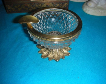 1960'S 22kt Gold Footed  Crystal Smoke / Cigarette Ash Tray