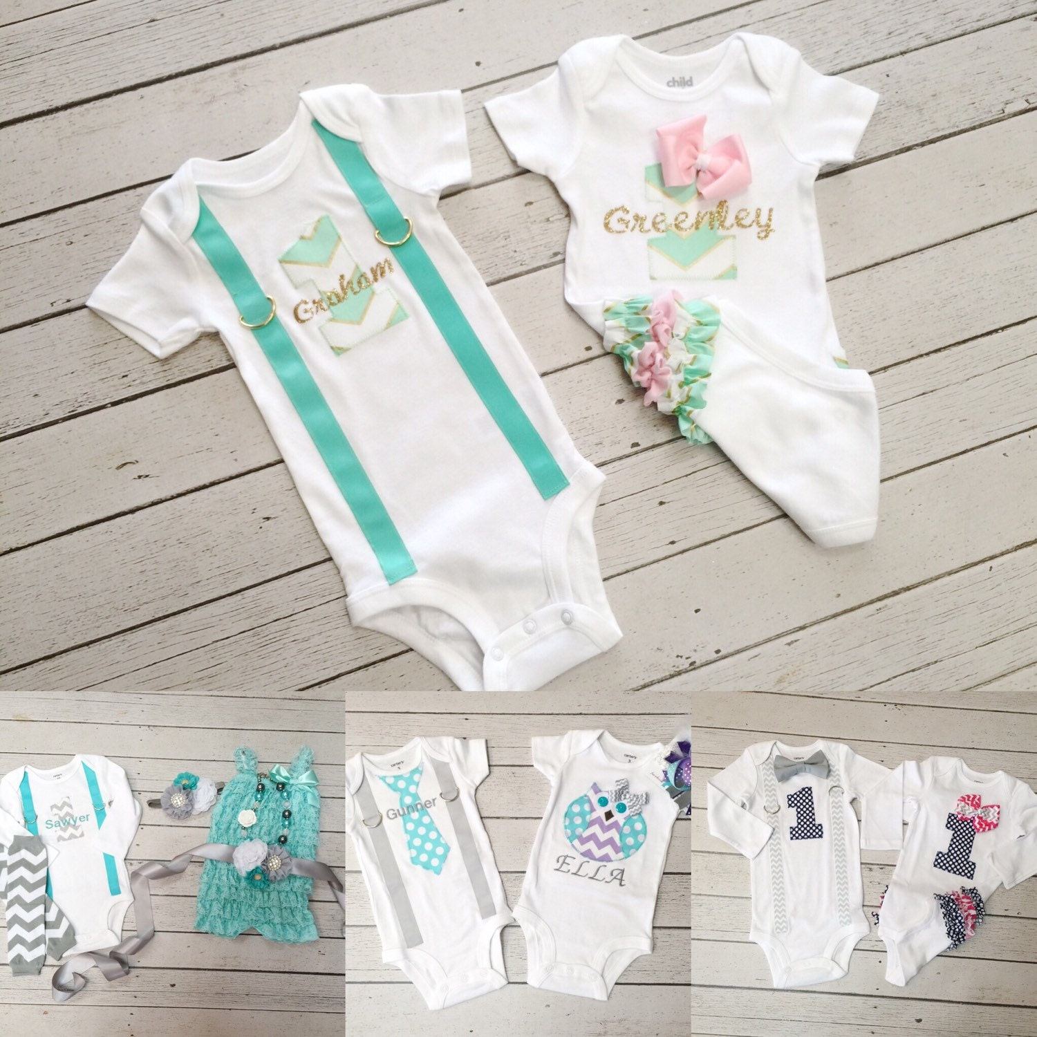 Baby Boy Girl Twin 1st Birthday Outfit Twins 1st By