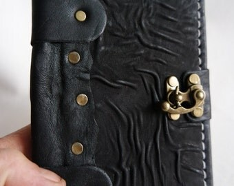 handmade leather bound journal / handmade small size creased leather notebook / Leather Sketchbook / Leather diary &