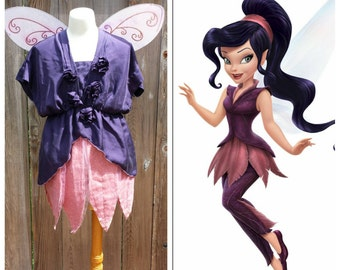 Upcycled Peter Pan Costume, Vidia Fast Flying Fairy Costume (Purple Tunic, Pink Skirt and Wings) Tinkerbell and Friends, Youth, Ladies