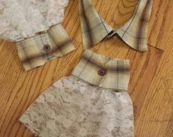 Upcycled Steampunk Clothing - Shirt Collar and Cuffs, Beige Plaid with White Lace Trim - Med Hatter - Alice in Wonderland