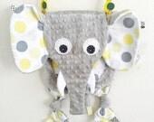 Neutral Baby Tag Blanket Elephant Toy Pacifier Keepsake Friend