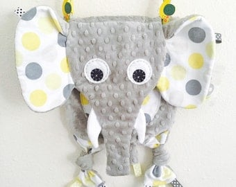 Neutral Baby Tag Blanket Elephant Toy Pacifier Keepsake Friend