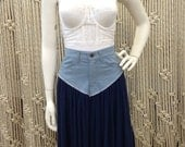 Super cute 1980's denim and knit cotton skirt