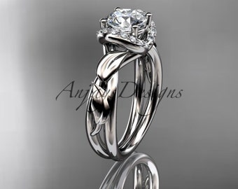 """14kt white gold diamond leaf and vine wedding ring, engagement ring with a """"Forever One"""" Moissanite center stone ADLR289"""