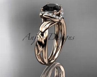 14kt  rose gold diamond leaf andvine ,engagement ring with black diamond center stone. ADLR289