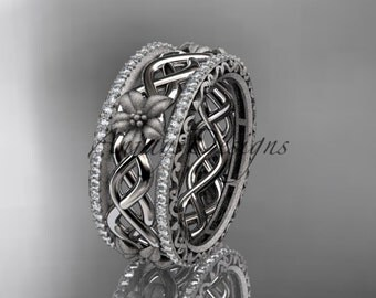 14k  white gold diamond flower wedding ring, engagement ring ADLR260