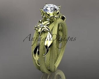 14kt  yellow gold diamond floral, leaf and vine  wedding ring, engagement ring ADLR253