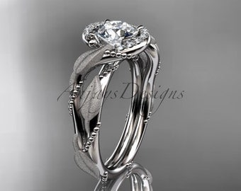 14kt white gold diamond leaf and vine wedding ring, engagement ring ADLR65