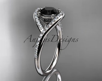 14kt white gold diamond wedding ring, engagement ring with a Black Diamond center stone ADLR383