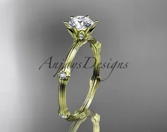 14k  yellow gold diamond vine and leaf wedding ring,engagement ring. ADLR38