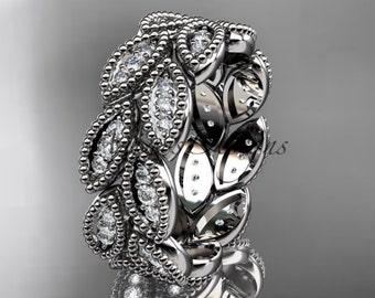platinum diamond leaf wedding ring, engagement ring, wedding band. nature inspired jewelry ADLR54B