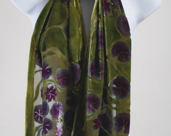 Hand-Painted, Devoré Silk Velvet Scarf with Lilly-Pads in Moss Green,