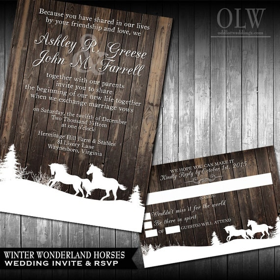 Winter Wedding Invitations Rustic Winter Wedding Invitations wood with garland lights snowflakes Stallion Horse DIY Wedding Invitations