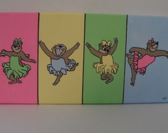 Twinkle Toes 7x14 Acrylic Canvas Kids Room Art Hand Painted Bear Ballerina