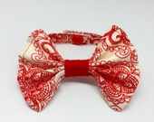 Red and white bow tie cat accessory, cat fashion, pet bow tie collar, handmade in cotton woven, red dot print, photo prop for pets sassy bow
