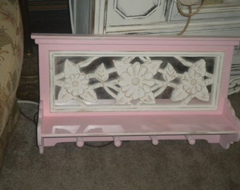 Ooak Totally Chic Pink and White  Mirror back, Distressed Shelf with Pegs, Baby Girl's Room. Shabby Chic