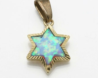 Vintage 14k yellow gold Blue Opalite Star of David Pendant Diamond Cut Made in Israel Estate