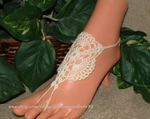 Victorian Lace, Barefoot Sandal, French Lace Nude Shoe, Foot Jewelry, Crochet Anklet, Wedding, Sexy, Yoga, Hippie, Beach Pool, Belly Dance